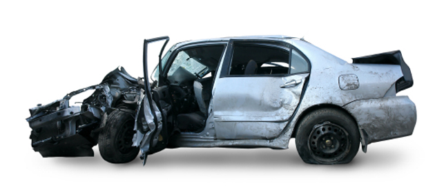 gray-blue accident car, isolated on a white background